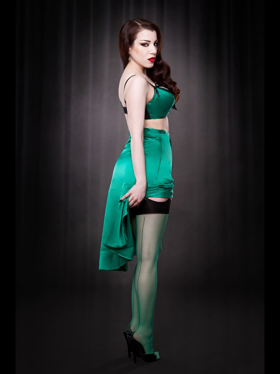 c6a682eec Sheer Contrast Seamed Stockings In Emerald