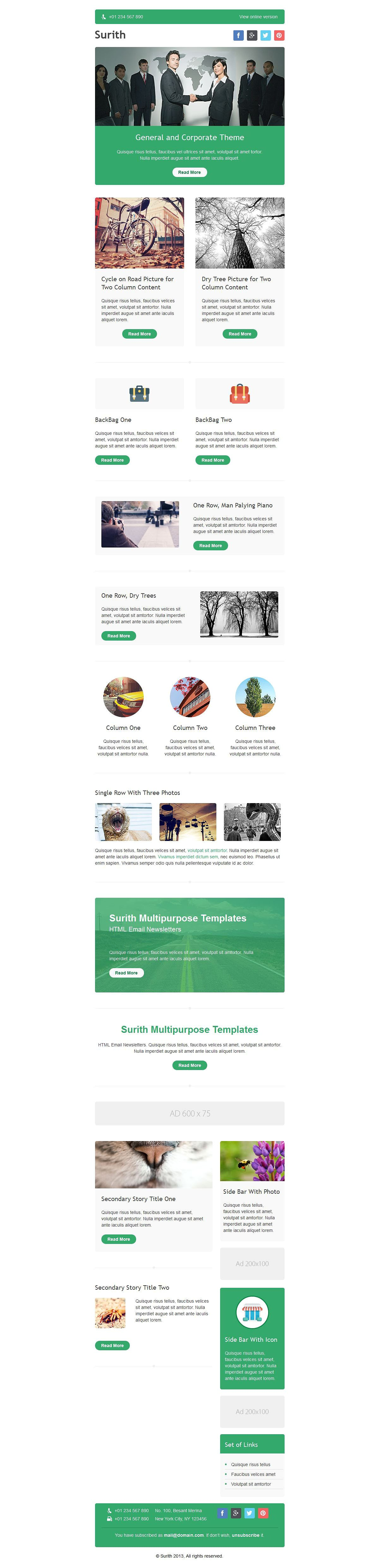 Surith Email Newsletter Templates Newsletter Templates Email - Two column email template