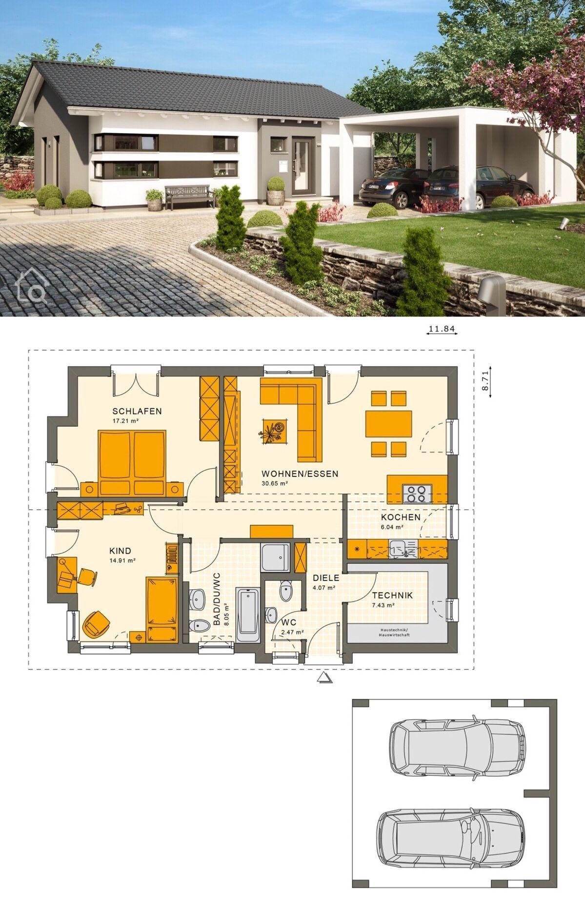 Bungalow Haus Mit Carport Garage Satteldach Architektur Grundriss Ebenerdig Barrierefrei 90 Qm 3 Zimmer E Fertighaus Bungalow Living Haus Haus Bungalow