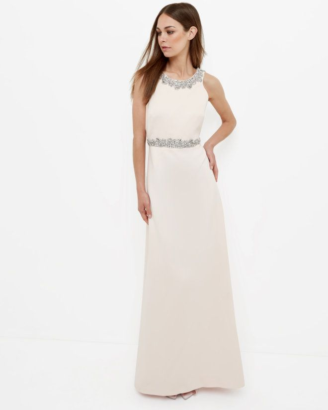 Embellished Maxi Dress - Nude Pink