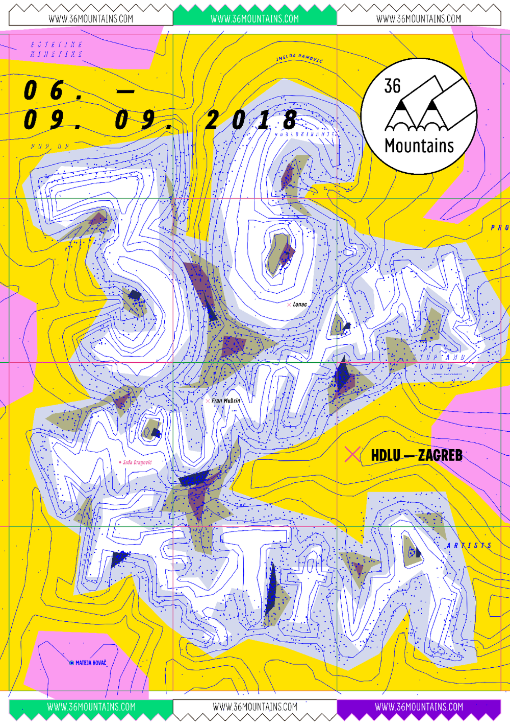 36 Mountains Fonts In Use Zagreb Illustration Graphic