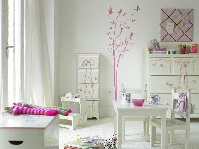 Marvelous Ideen Mädchen Zimmer Einrichten Weiß Rosa Wandtatoos Home Design Ideas