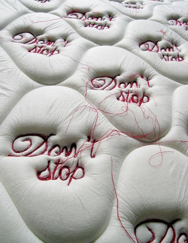 Tania Candiani - Don't Stop Recycled mattress & Embroidery 2004