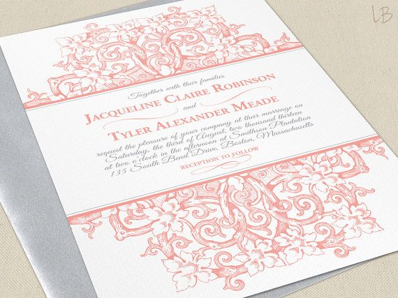 victorian wedding invitation sample - coral wedding invites - pink, Wedding invitations