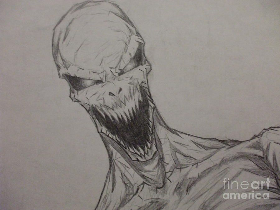 Demon Zombie Drawing By John Prestipino Scary Drawings