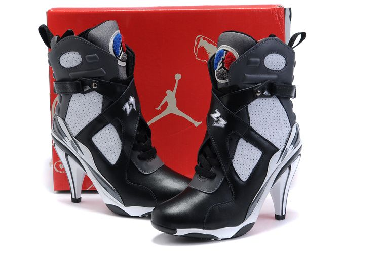 the latest 8cf07 96167 Girls Air Jordan 8 High Heel Black White Shoes