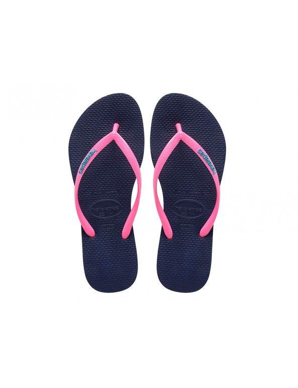 Havaianas Slim Logo slippers - blauw