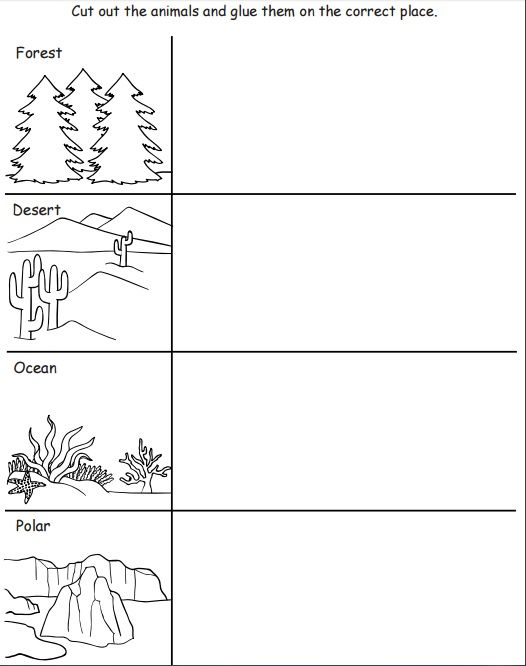 cut and paste animal habitat worksheet (1) | Pre-K planning ...