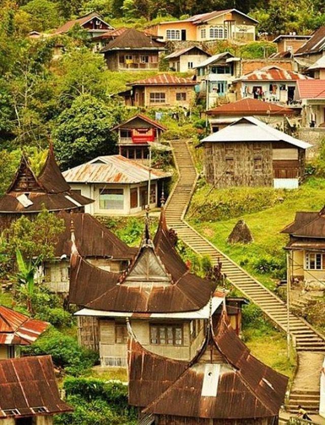 Nagari Pariangan Sumatra Barat Minangkabau Pemandangan Arsitektur