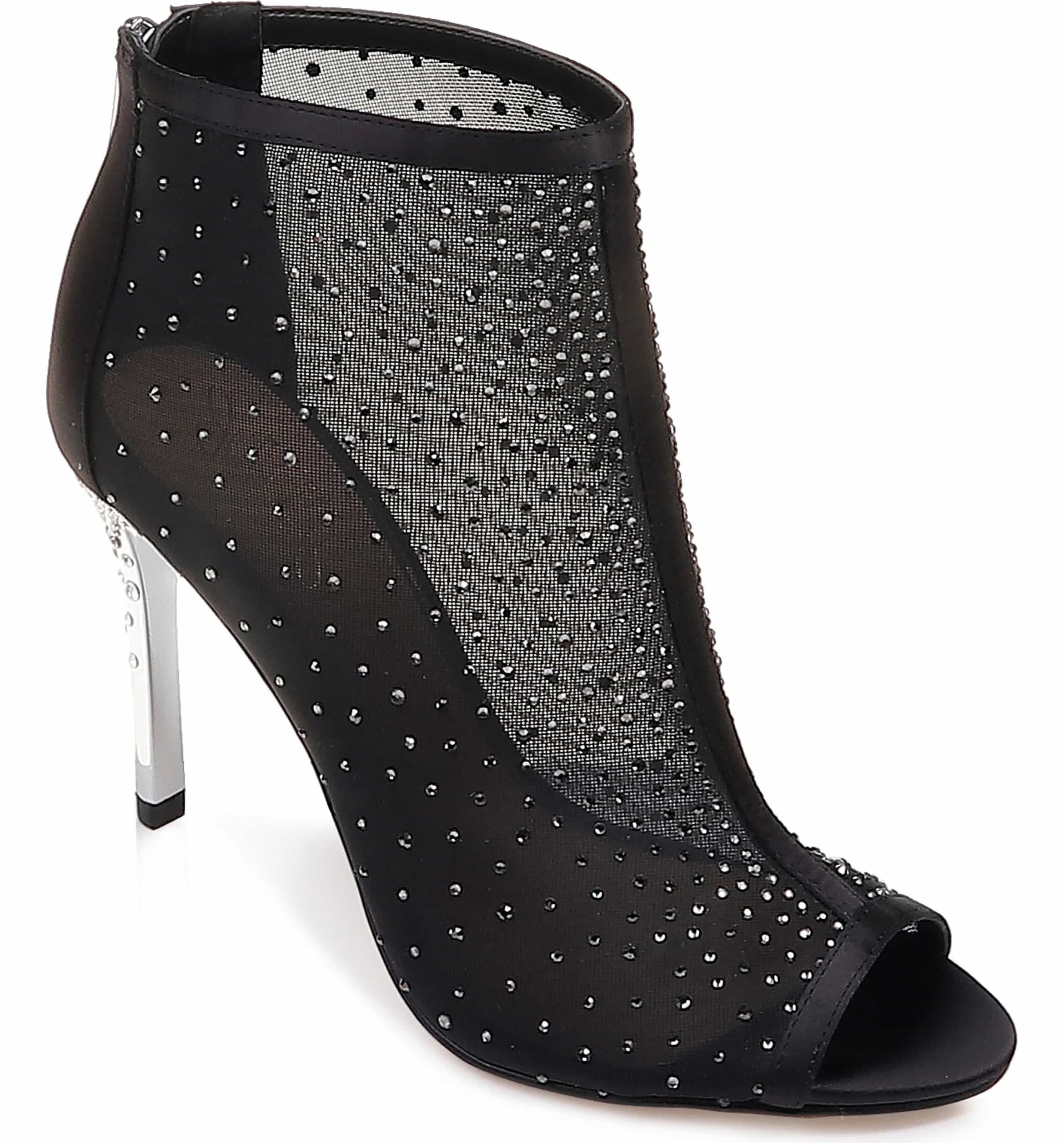 44fafbe758bfb Jodie Crystal Embellished Mesh Bootie, Main, color, BLACK CRYSTAL SATIN