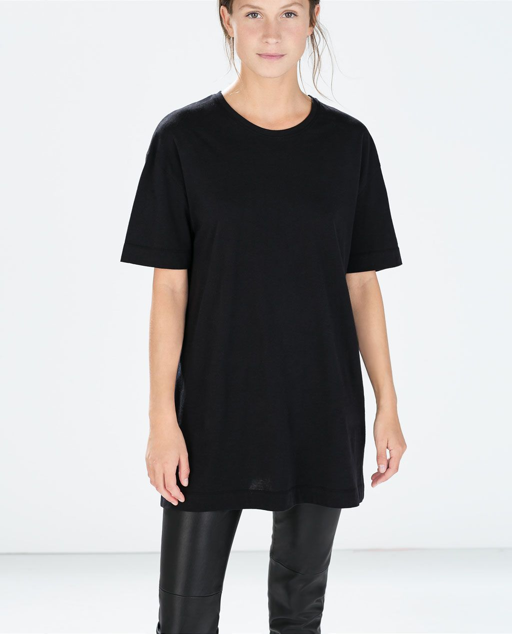 Image of special long cotton tshirt from zara cus pinterest