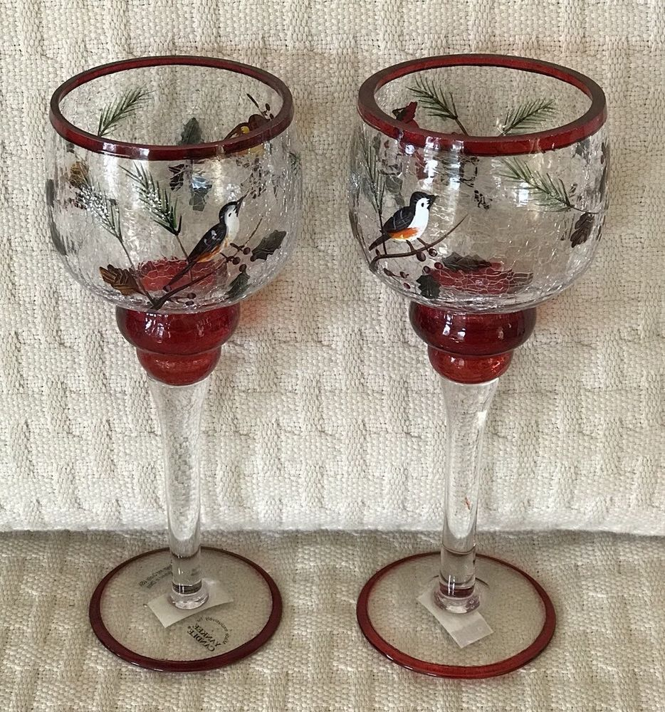 Details about pair yankee candle crackle glass cardinal birds votive