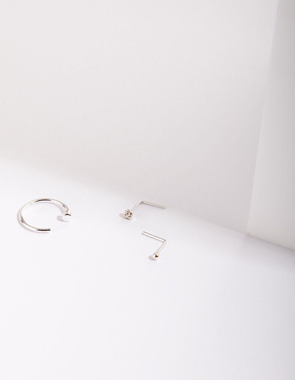 Sterling Silver Ball Diamante Nose Ring Lovisa Jewellery
