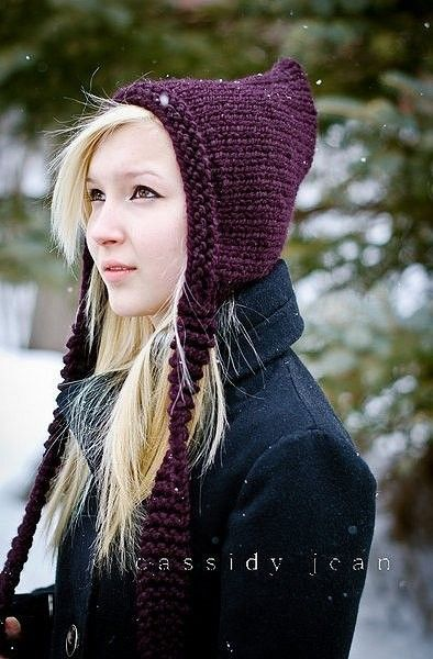 7ca9e18cdd0 Hand Knit Hat Womens Hat - Pixie Hat in Purple Aubergine Eggplant  50.00