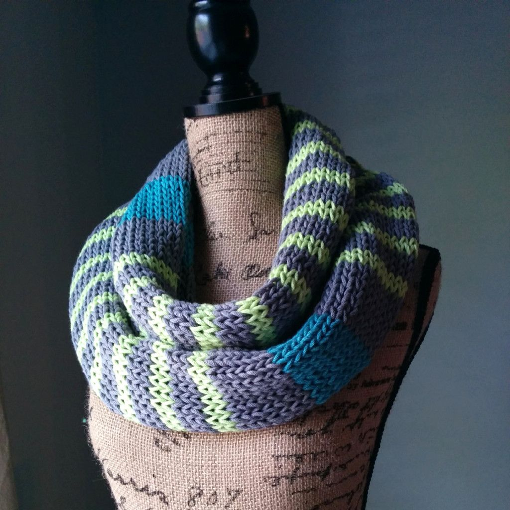 neon stripes infinity scarf knitting pattern Berroco Weekend Chunky ...