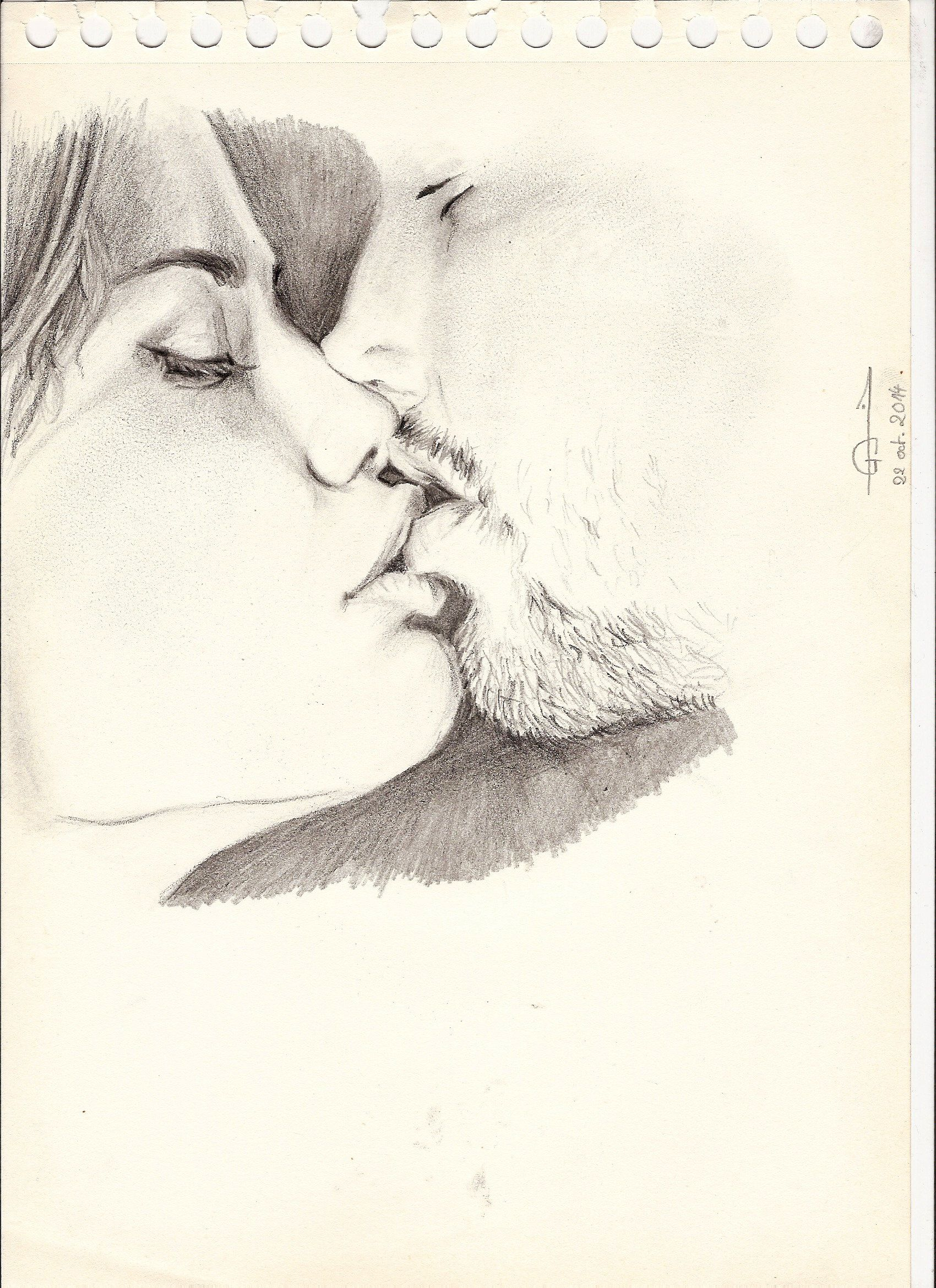 Drawing of lovers couple love sexy kiss dessin art artwork pencils portrait sketch pencil drawings of