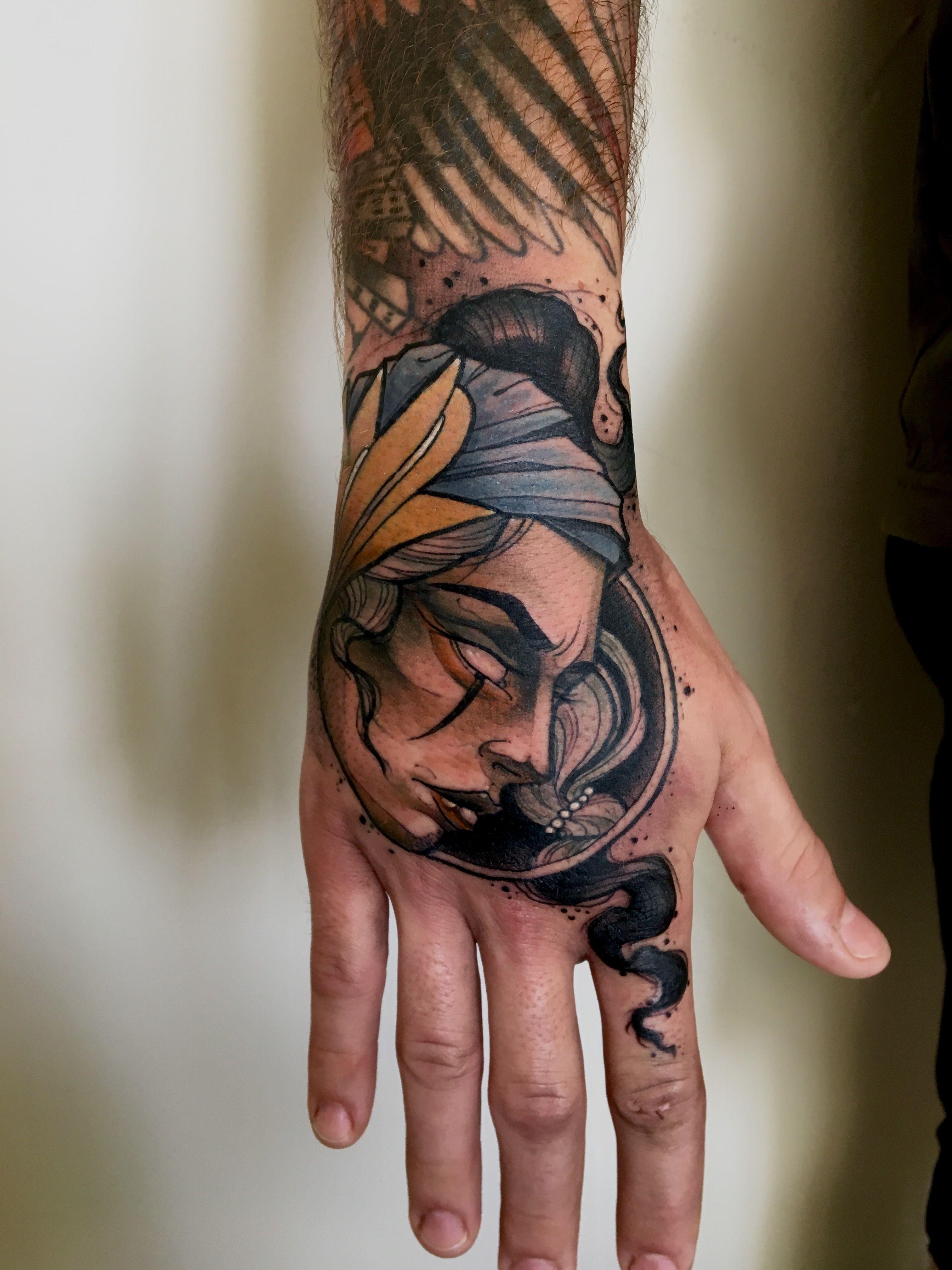 Female Face Hand Tattoo Done By Akostattoo Tattoos Female