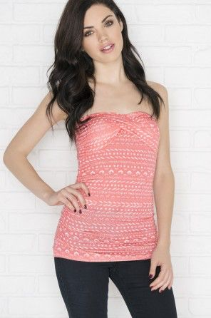 A very cute salmon pink & white tube top