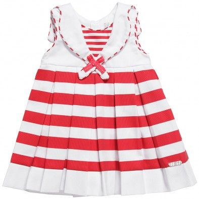 Baby Girls Red and White Cotton Sailor Dress