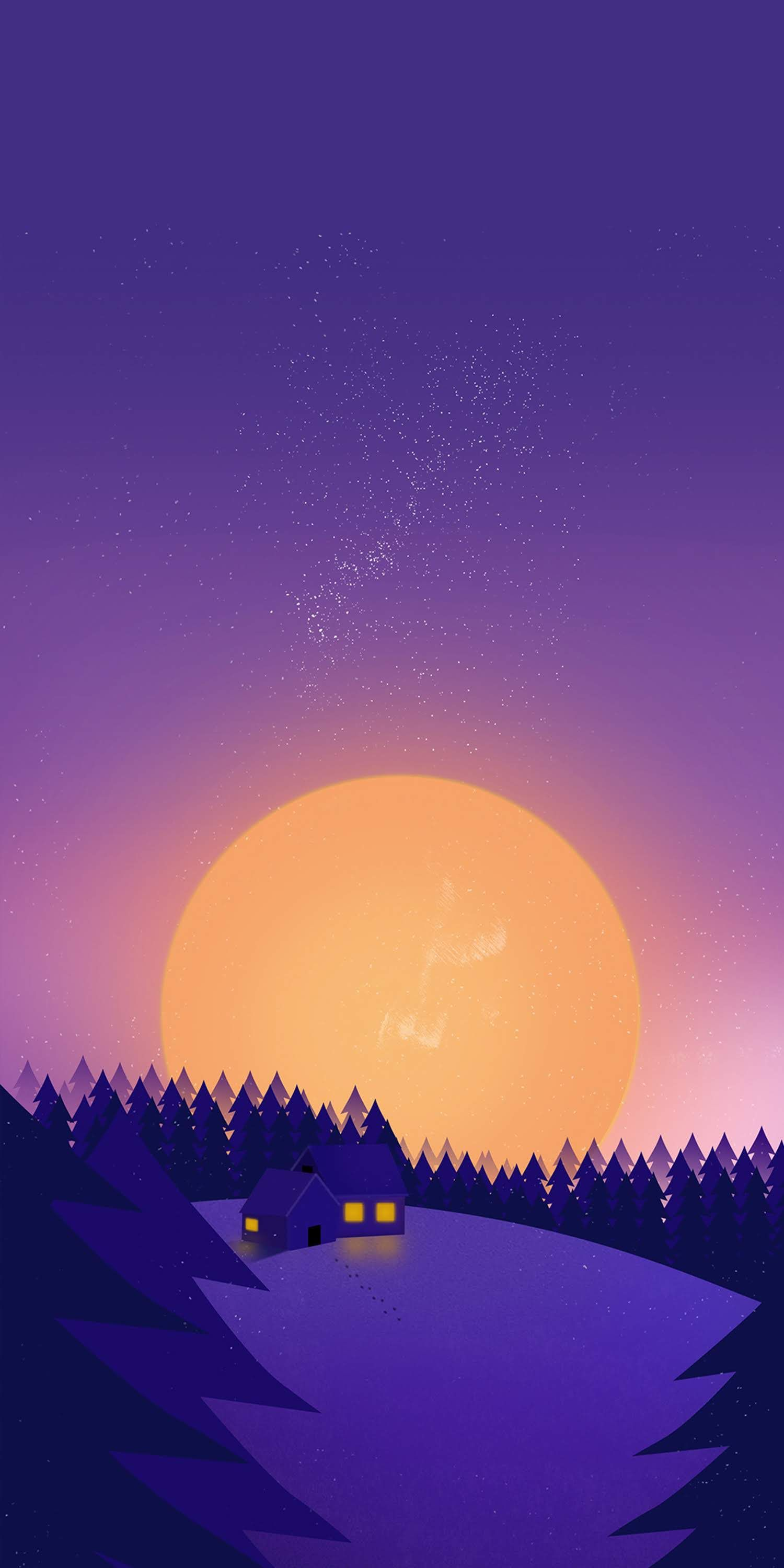 Winter Sunset Snow Minimal iPhone Wallpaper Minimal