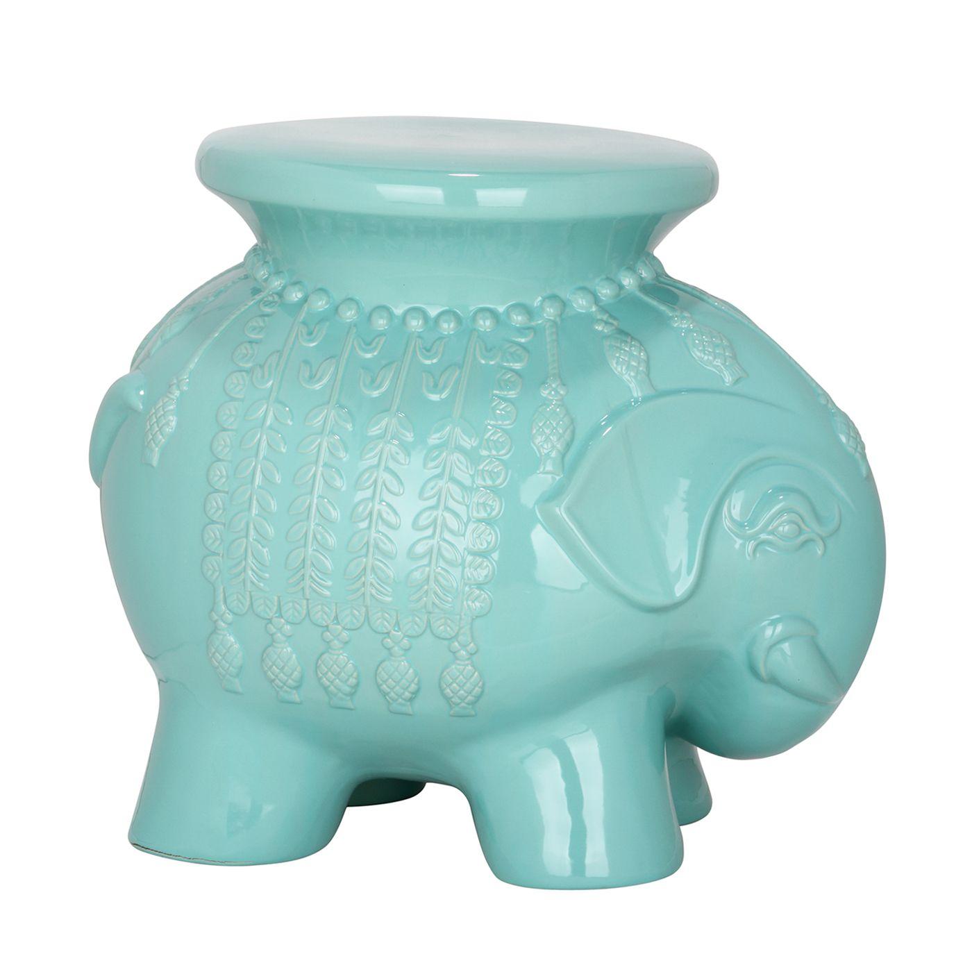 Safavieh 16 80 In White Ceramic Thailand Elephant Garden