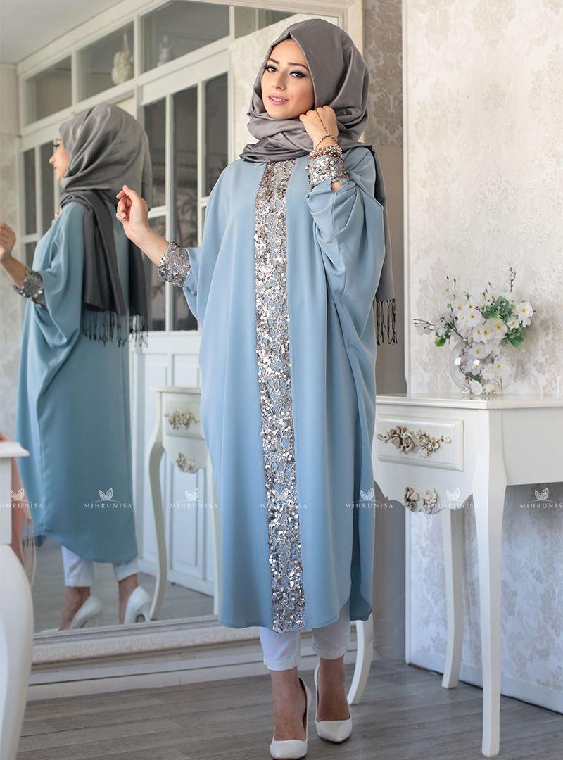 Elisa Ferace Tunik Mavi Lefzen Giyim Islami Giyim Kiyafet