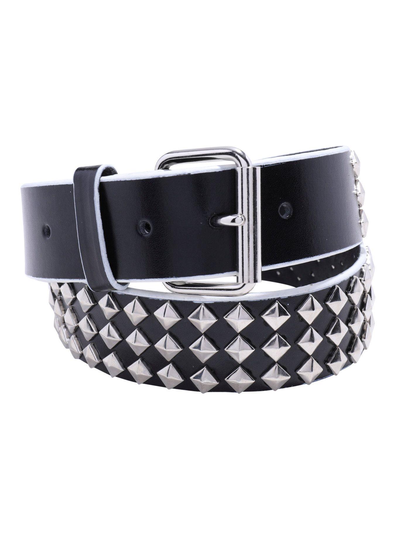 """Black Rhinestone Studded Leather  1/"""" wide Belt 3 Rows of Rhinestones /& Stud"""