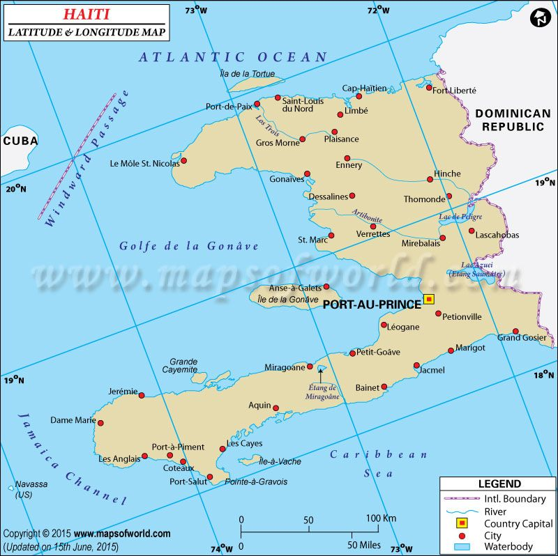 Haiti latitude and longitude map showing comprehensive details ...