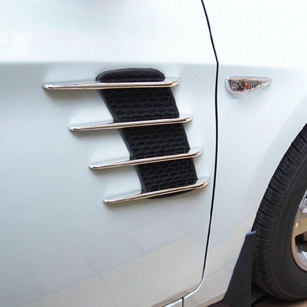 2 Universal Auto Car Truck SUV Chrome Side Fender Air Flow Mesh Vents Trim Decal