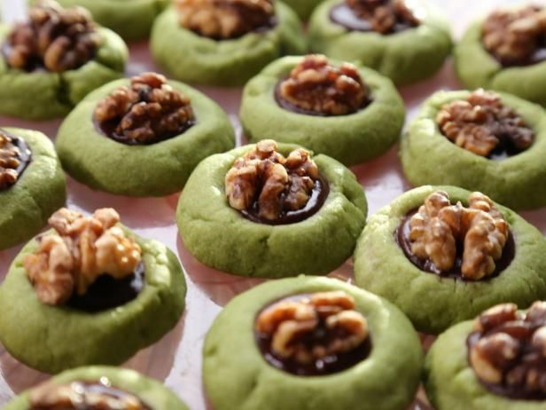 Matcha Thumbprint Cookies with Chocolate and Walnuts