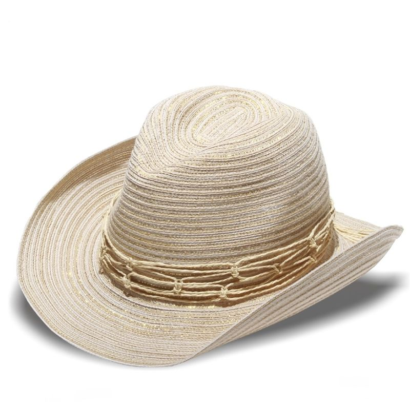 8f6828fd4306 Western style sun hat in cream white with metallic shimmer. As seen in  People Style Watch magazine. solescapes.com