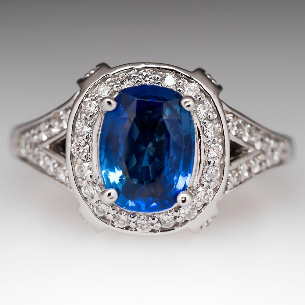 Angara Sapphire Ring - Vintage Style GIA Certified Sri Lankan Sapphire Floral Ring 8xcIa