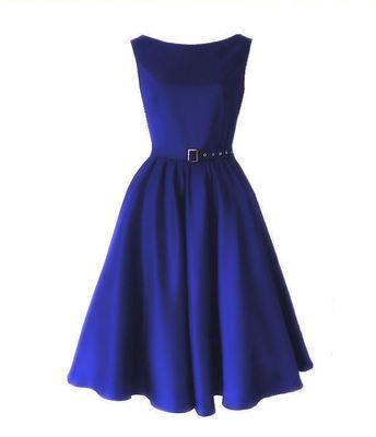 cobalt blue bridesmaids swing dress #retro #wedding
