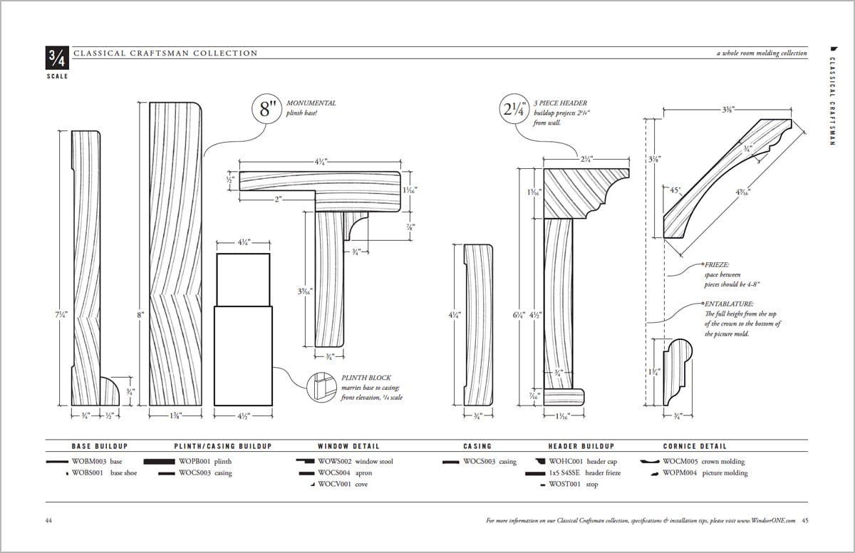 Dimensioned Classical Craftsman Profiles Windsorone Craftsman Trim Craftsman Door Moulding Profiles