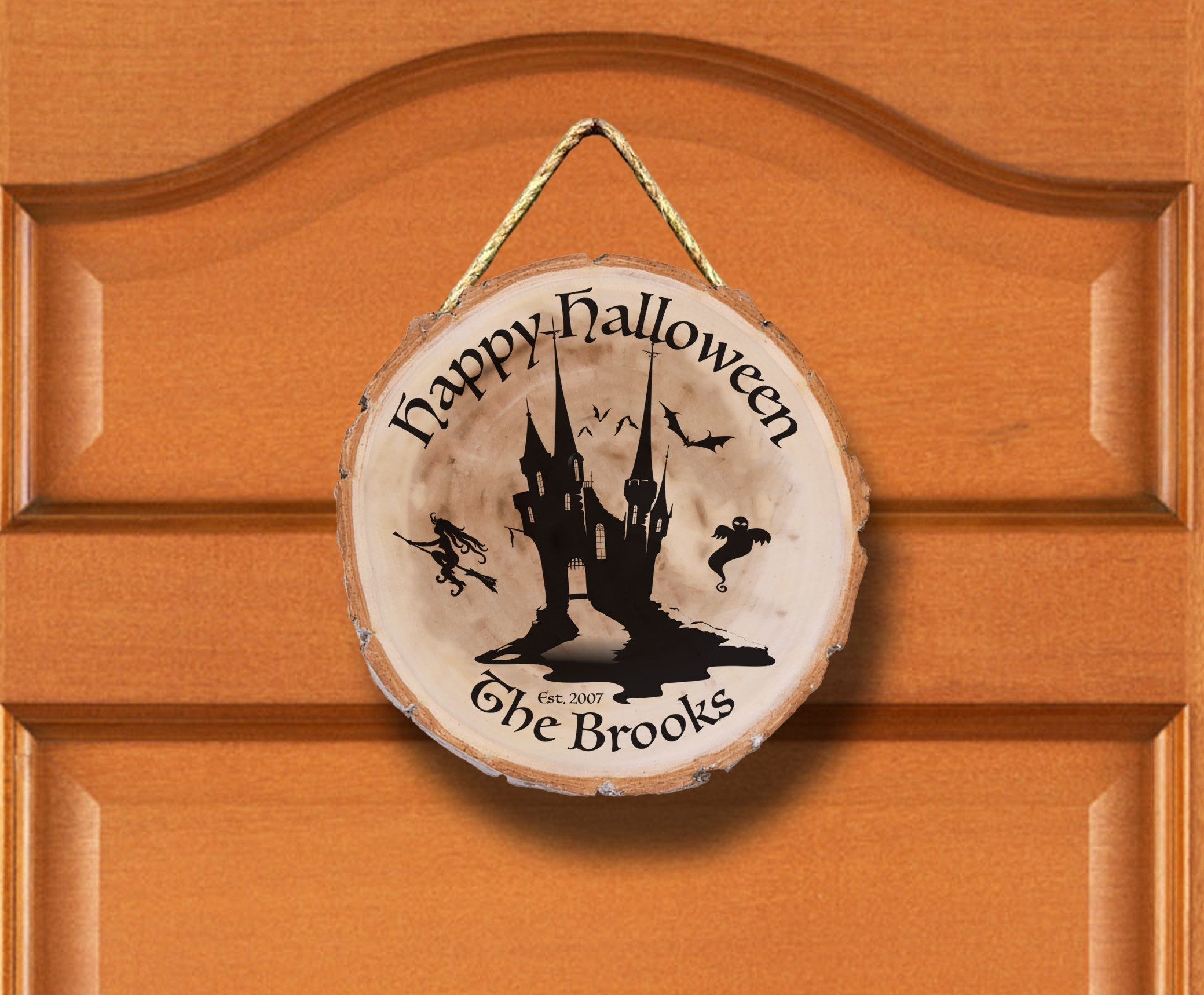 Trick or Treat Halloween Decor Family Name Engraved 9 Rustic Wood Housewarming Gifts Personalized Rope Hanger Halloween Door Decor