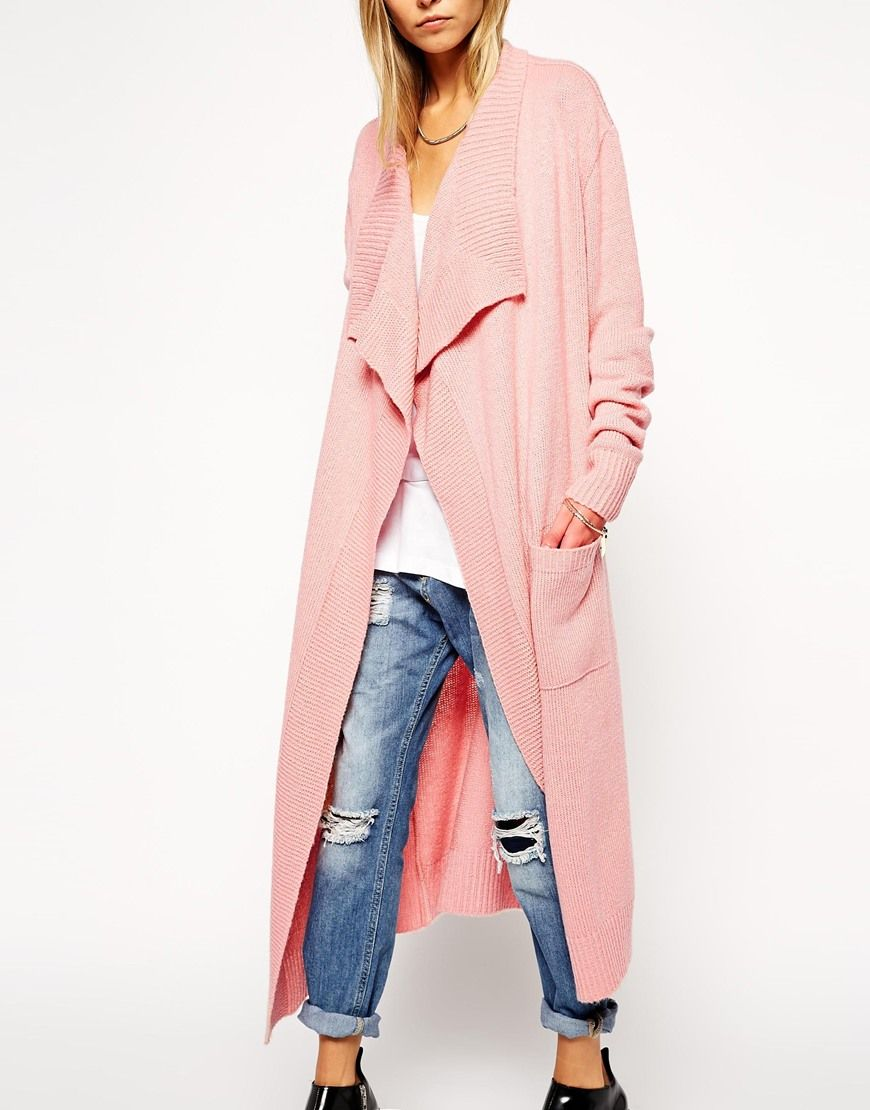 Image 3 of ASOS Longline Waterfall Cardigan In Brushed Knit   For ...
