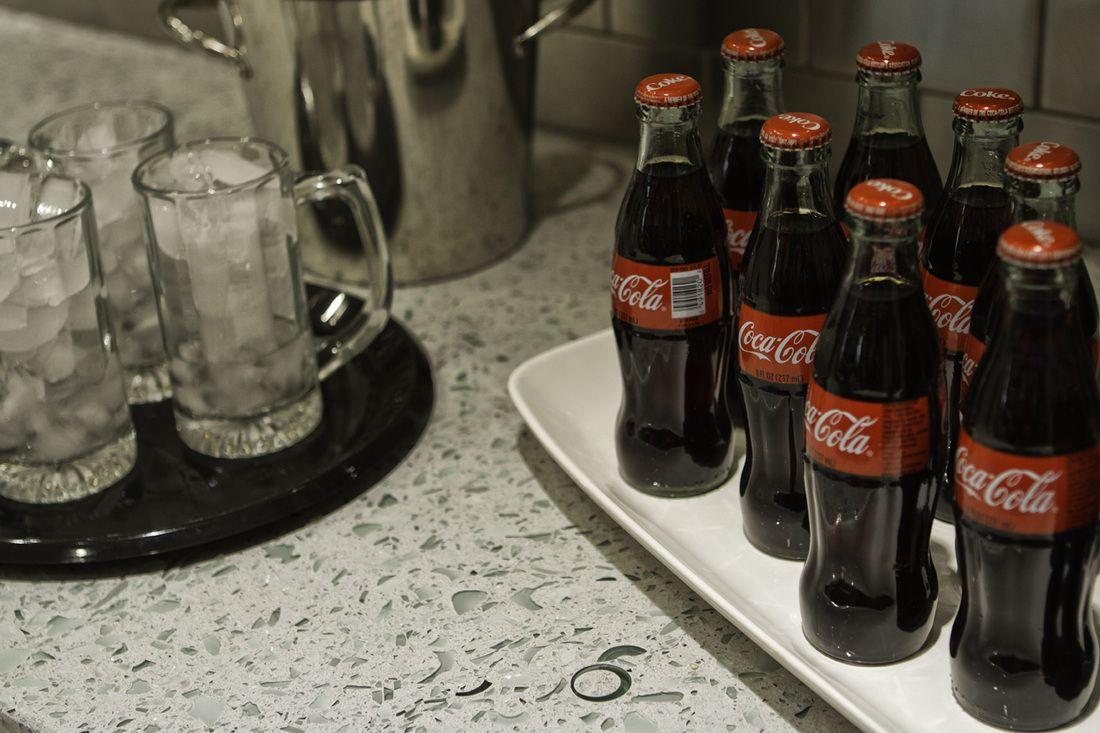 Kandrac & Kole Interior Designs Atlanta  Custom countertop - concrete and recycled coke bottles!