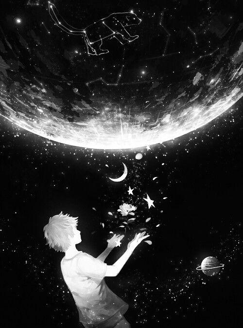 Black And White Anime Art Anime Boy Stars Moon Sky Art Night Sky Art Moon Art
