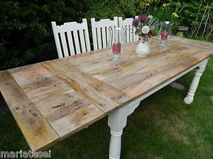 Details About Large Rustic Oak Finish Farmhouse Kitchen Dining Table Extending 8 5ft Painted Dining Table Dining Table In Kitchen Expandable Dining Table
