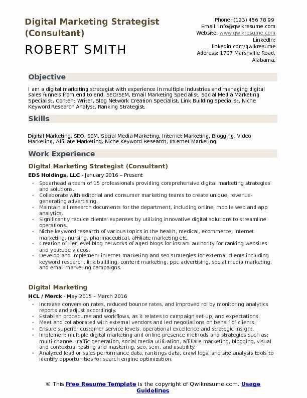 digital marketing strategist  marketing resume digital
