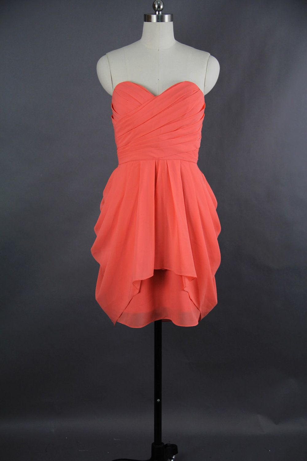 Coral bridesmaid dress aline sweetheart mini chiffon