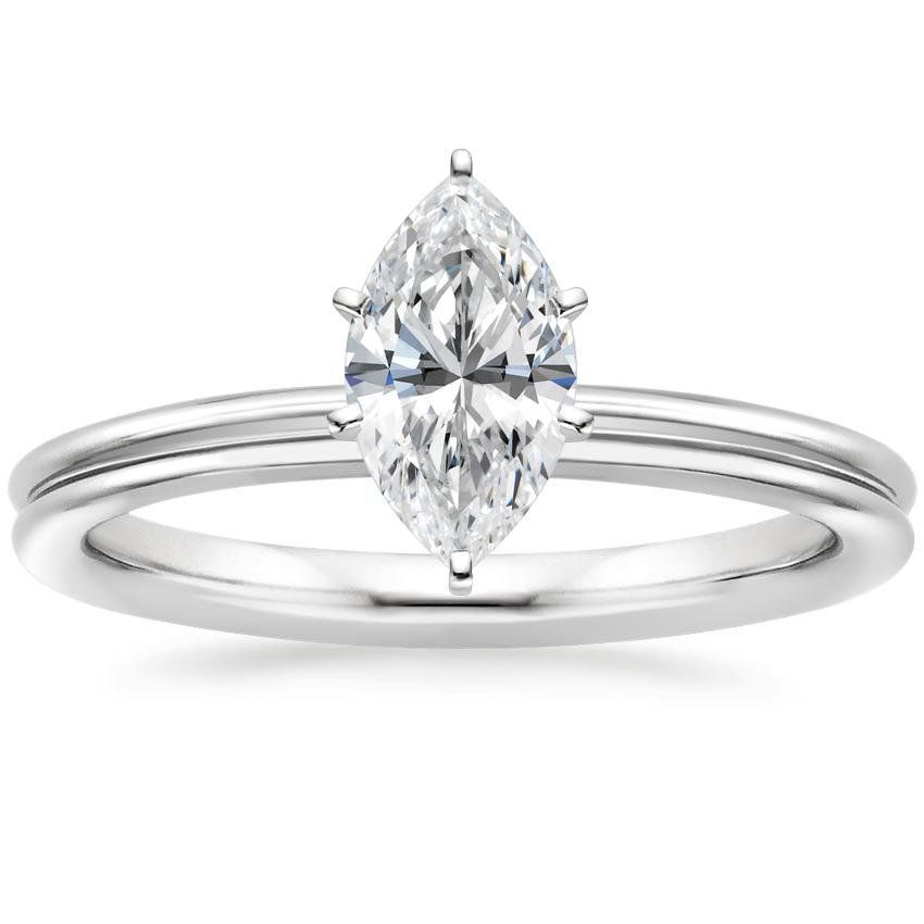 Marquise Cut 2mm Grooved Comfort Fit Solitaire Diamond Engagement Ring - 18K White Gold