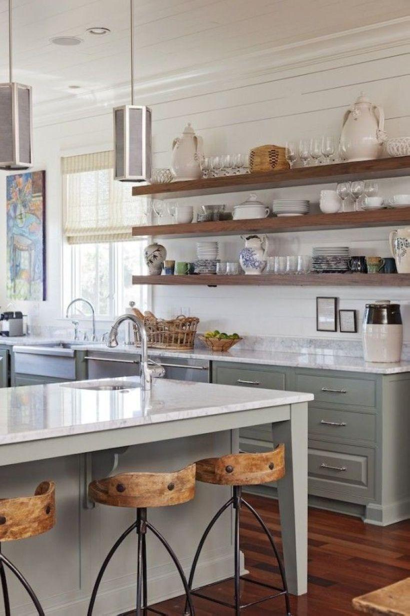 open shelving kitchen decor ideas  Galley kitchen remodel, Upper