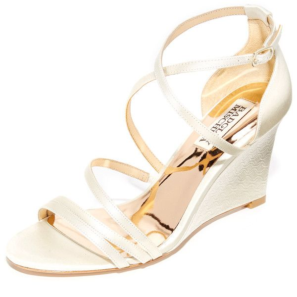 Badgley Mischka Bonanza Wedge Sandals ($195) ❤ liked on Polyvore featuring shoes, sandals, strappy wedge sandals, monk-strap shoes, criss cross wedge sandals, wedge sandals and crisscross sandals