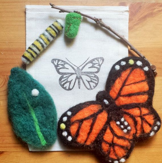 Needle Felted Monarch Life Cycle...excellent Natural