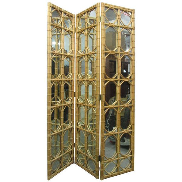 3 Panel Rattan Mirror Floor Screen Room Divider ($5,900) ❤ Liked On  Polyvore Featuring
