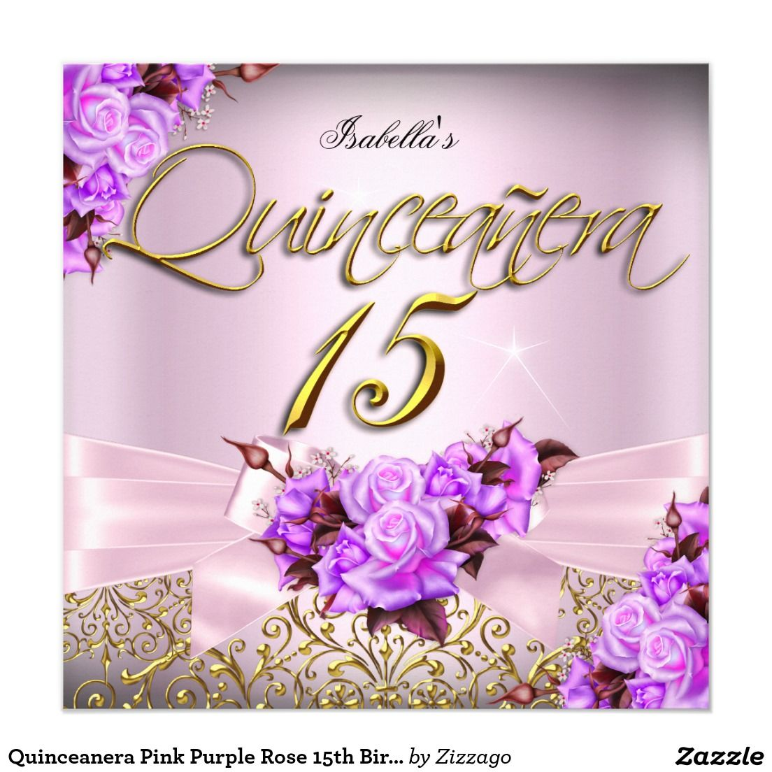 Quinceanera pink purple rose 15th birthday 525x525 square paper shop quinceanera pink purple rose birthday card created by zizzago m4hsunfo Image collections