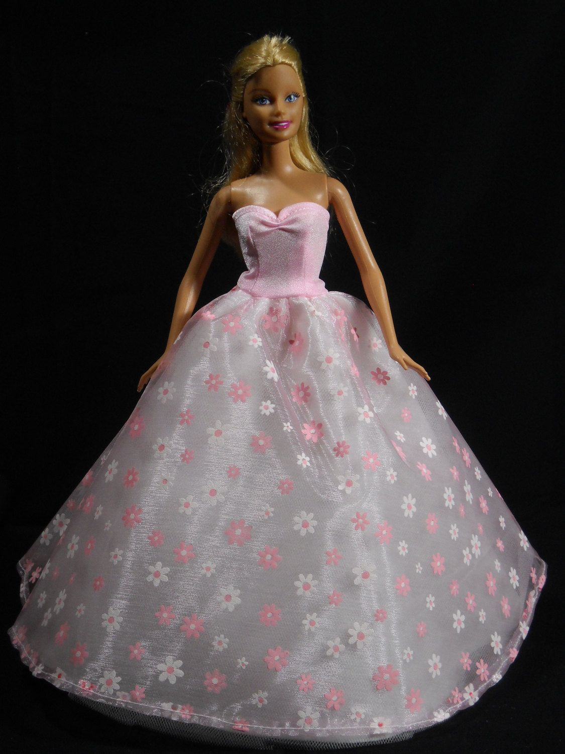 Beautiful Pink Party Dress with Fuzzy Skirt Made to Fit Barbie Doll