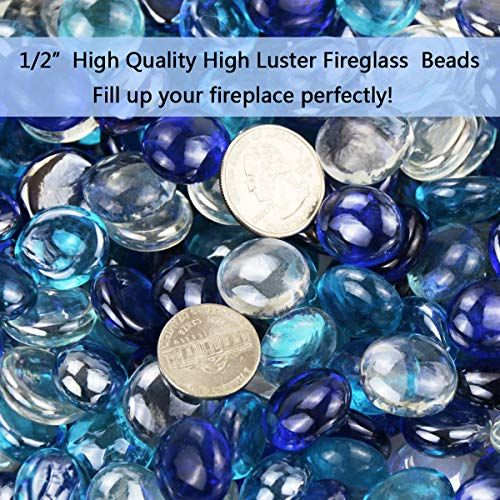 Hisencn 1 2 Inch Fire Glass Beads For Fire Pit Indoor Outdoor Gas Fireplace Glass Rocks P In 2020 Fire Glass Glass Luster