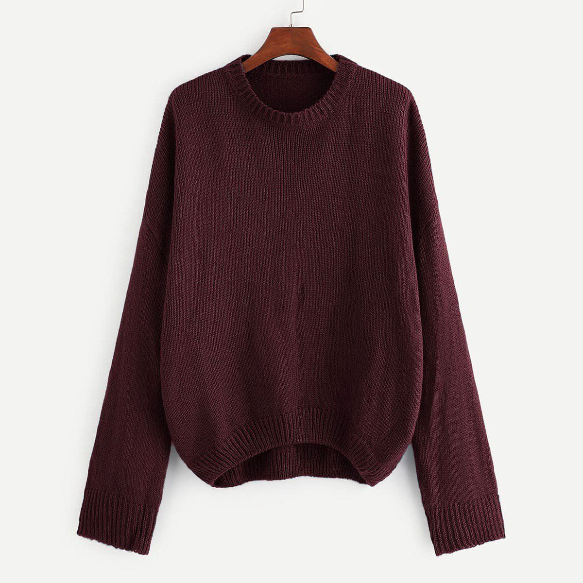 Photo of Plus Drop Shoulder Solid Sweater